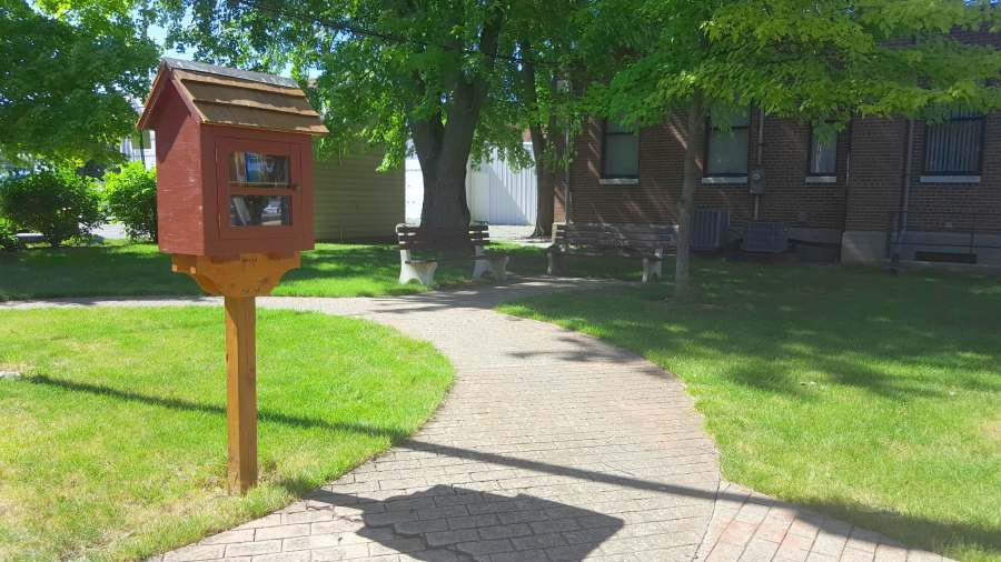the little lending library at Bucyrus Picking Park