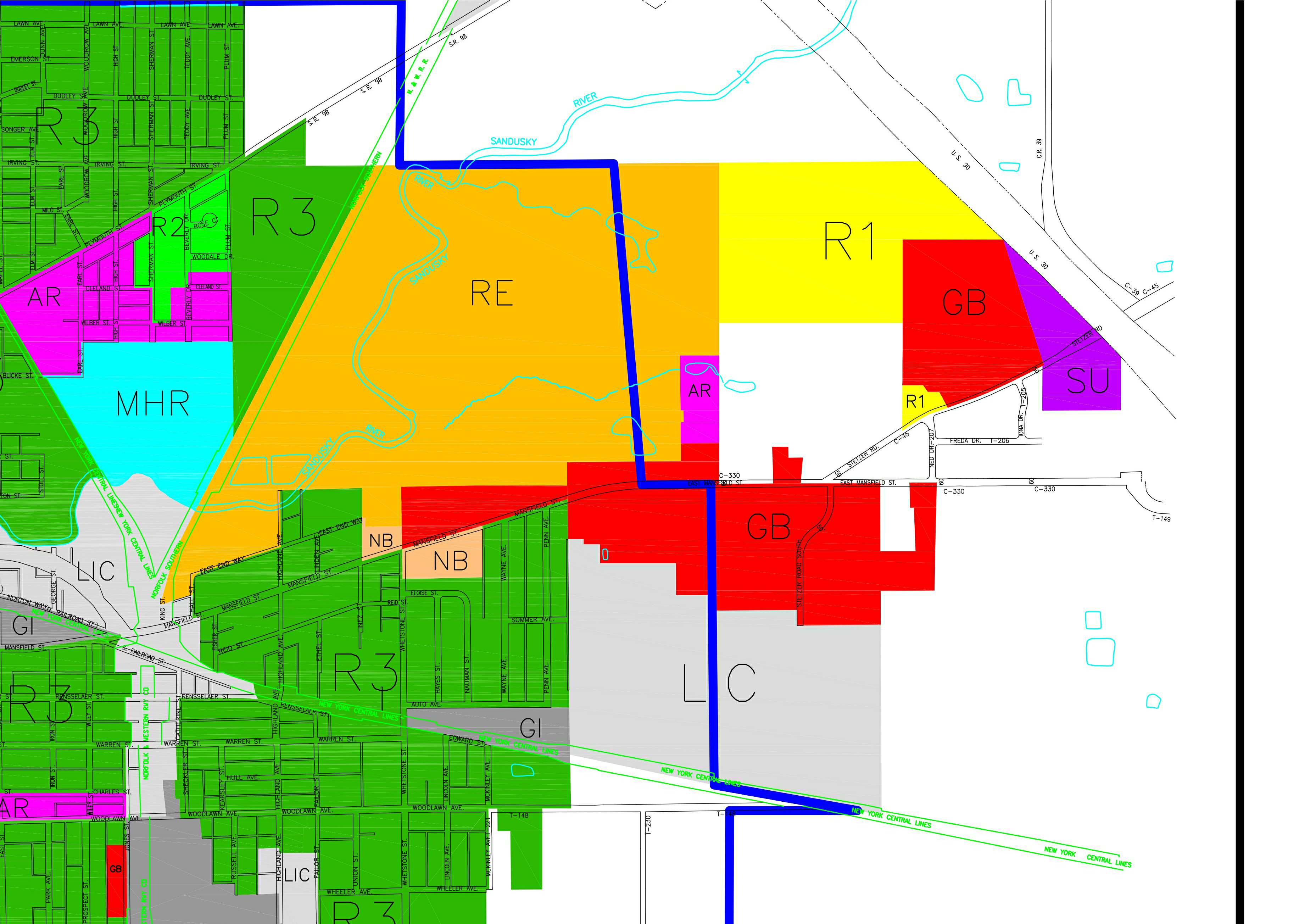 Tile 4 of the Bucyrus Zoning Map