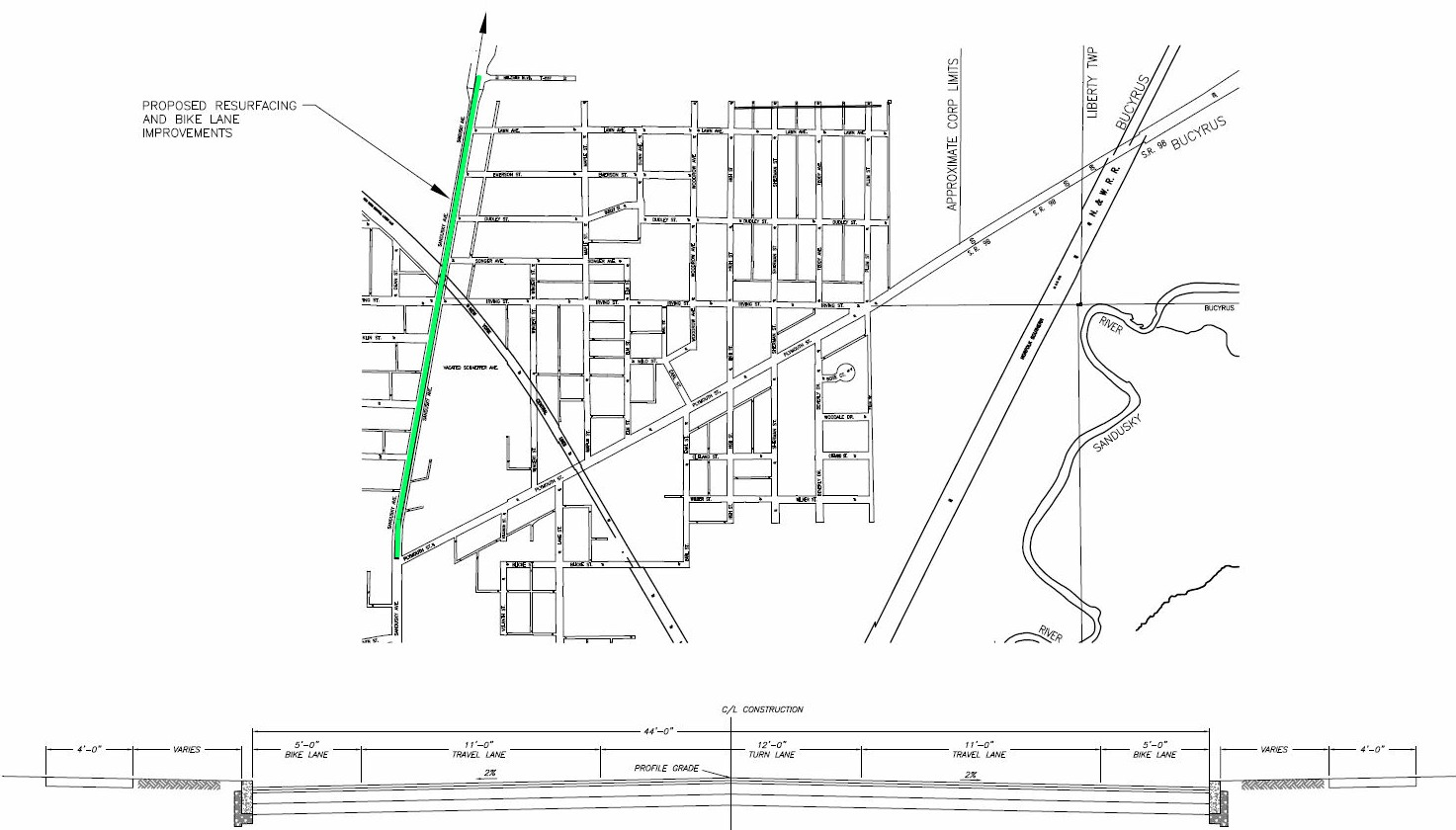 Map showing the proposed reconstruction of North Sandusky Avenue; State Route 4