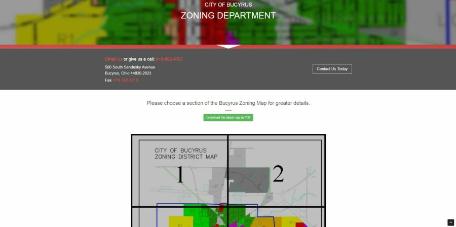 snippet image of the Bucyrus Zoning Page